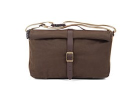 Brompton Roll Top Bag in Khaki Waxed Canvas + Frame